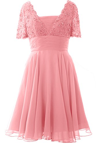 MACloth Women Short Sleeve Mother of the Bride Dress Lace Cocktail Formal Gown Blush Pink