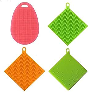 Clearance Antibacterial Silicone Sponges Heat Resistant Dishwashing Brush Scrubber for Kitchen Supplies Multi Purpose Fruit Household Cleaning 2 Square 1 Oval Sponge (Pack of 3)