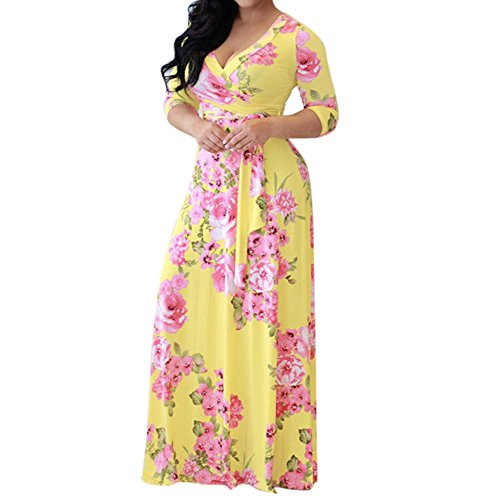 Elegant Dresses Womens Stylish Chiffon V-Neck Printed Floral Maxi Dress with Waisted Belt Plus Size S-3XL by Chaofanjiancai