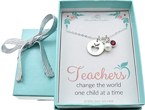 Woman's Sterling Silver Apple Charm Accented by a Fresh Water Pearl and Sterling Swarovski Crystal on an 18