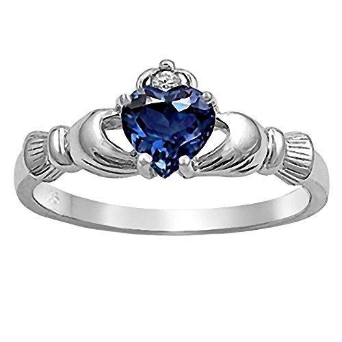 Corrine: Heart-cut Simulated Sapphire and IOF CZ Dublin Claddagh Promise Ring Silver, 3184A sz 11.0