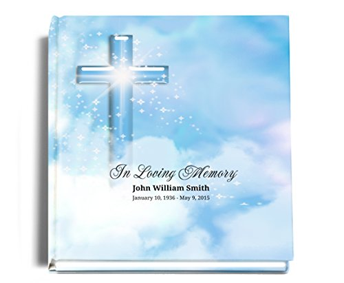 Personalized Funeral Memorial Guest Book 8'' x 8'' with 2 Lines of Customized Imprint by Funeral Program Site