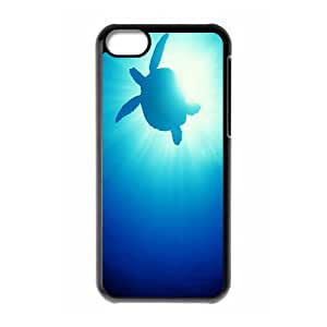 iPhone 5C Case Turtle in the Blue Sea, iPhone 5C Case Sea Creature For Guys, [Black]