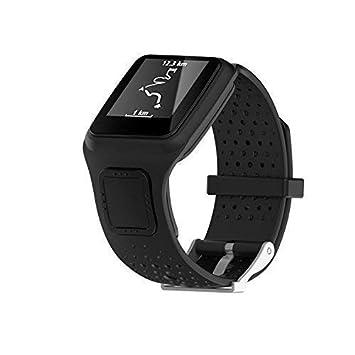 KOBWA TomTom Correa de reloj de silicona de repuesto para TomTom Runer/TomTom Runner Cardio/TomTom Multi-Sport GPS HRM y más Smartwatch