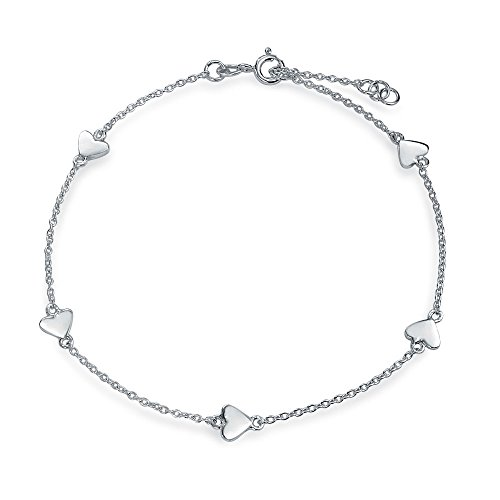 Multi Love Heart Station Anklet Chain Ankle Bracelet 925 Sterling Silver Adjustable 9 to 10 Inch with Extender ()