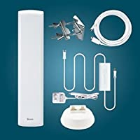 ANTOP AT-402B Flat-Panel HDTV Outdoor/Indoor Antenna with Built-in 4G LTE Filter – 60-70 Miles Long Range Multi-Directional Reception | Smartpass Amplified