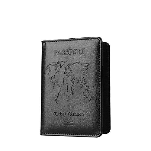 Black Leather Passport Case - PU Leather Passport Holder Cover Case RFID Blocking Travel Wallet Credit Card Organizer (Black)