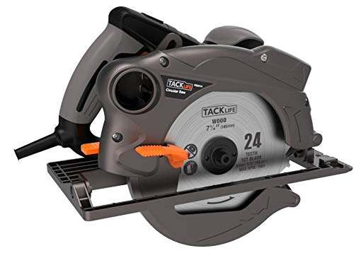 "TACKLIFE 7-1/4"" Classic Circular Saw with Laser, 2 Blades(24T&40T), 12.5 Amp 4700 RPM Corded Saw with Lightweight Aluminum Guard, Max Cutting Depth 2-1/2''(90°), 1-4/5''(45°) - PES01A"