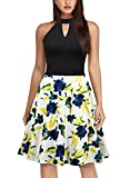 Knitee Women's Vintage Cocktail Party Fit and Flare Floral Halter Dress