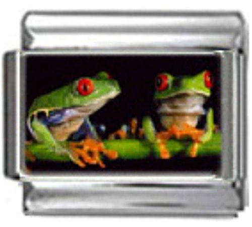 (Stylysh Charms Frogs Tree Green Photo Italian 9mm Link AN042)