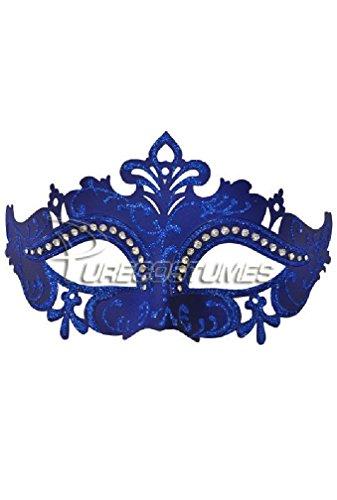 [8eighteen Mardi Gras Masquerade Royal Crystals Venetian Mask (Blue)] (Dog Costumes For Mardi Gras)