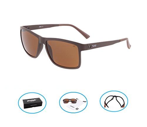Tacloft Wayfarer 57mm HD Polarized Sunglasses TR004(Brown Frame/Brown - Men For Brown Sunglasses