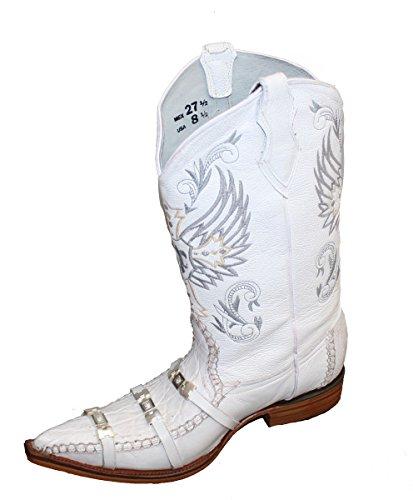 Dona Michi Menns Western Cowboy Skinn Krokodille Print / Dekorative Stropper Støvler Hvite