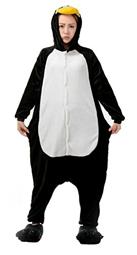 Nicetage Unisex Adult Pajama Onesies Fleece One Piece Halloween Costumes Penguin -