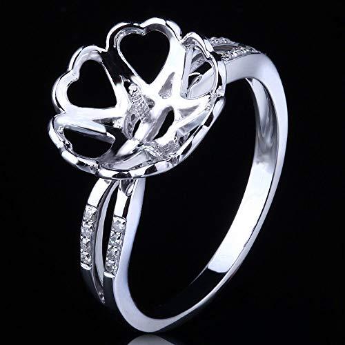 FidgetKute 12mm Pearl Round Beauty Ladies 10K White Gold Engagement Semi Mount Ring