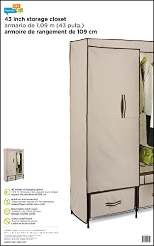 Honey-Can-Do WRD-01274 Ultra-Deluxe 43-Inch Wide Storage Closet with Heavy Duty Doors, Cream