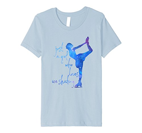Kids Just A Girl Who Loves Ice Skating - Ice Skater Shirt 10 Baby Blue