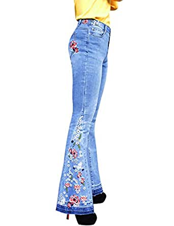 ZENTHACE Women's Flared Fit Jeans Bell Bottom Denim Pants with Contrast Wash Hem Detail - - 10