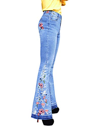 Women's Flared Fit Jeans Bell Bottom Denim Pants with Embroidered Details Embroidered Blue 8/M