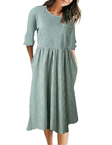 MEROKEETY Women's 3/4 Balloon Sleeve Striped High Waist T Shirt Midi Dress with Pockets Olive