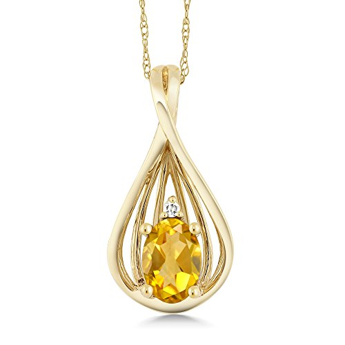 0.40 Ct Oval Yellow Citrine and Diamond 10K Yellow Gold Teardrop Pendant Necklace With 18 Inch (Gold Citrine Cocktail)