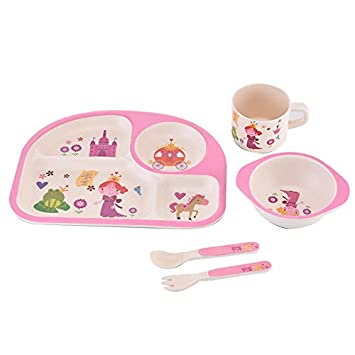 MaoXin 5 Piece Bamboo Dinnerware Set Family Rated Natural bamboo - 100% Biodegradable (Pink  sc 1 st  Amazon.com : bamboo dinnerware - pezcame.com