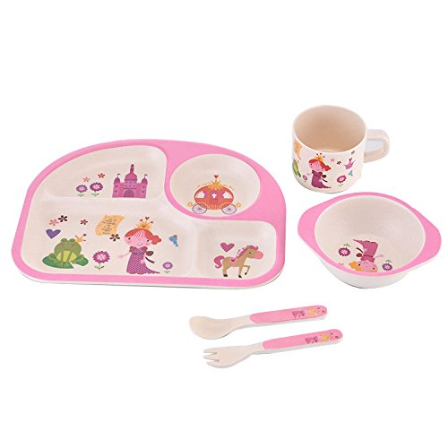 MaoXin 5 Piece Bamboo Dinnerware Set Family Rated Natural bamboo - 100% Biodegradable (Purple Mermaid) Made in china P-003