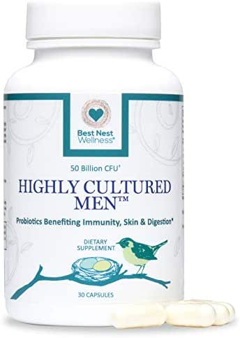 Highly Cultured Men's Probiotics, 50 Billion CFU, 15 Strains, Patented Time Released Capsules, Intensive Once Daily Probiotic Supplement, 30 Count, Best Nest