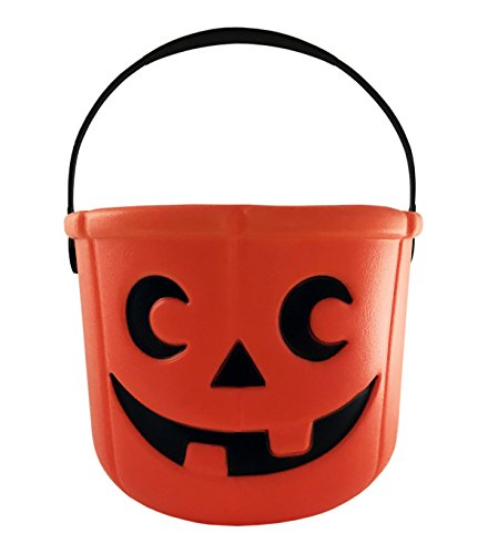Cookie Monster Halloween Pail (KINREX Halloween Pumpkin Candy Bucket - Trick or Treat Plastic Basket for Kids - Great Party Decor Favors - Orange - Measures 5.5)