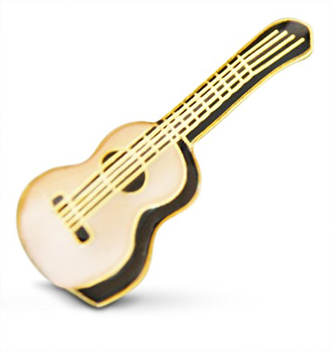 3-Piece Small Tan Acoustic String Guitar Musician Lapel or Hat Pin & Tie Tack Set with Clutch Back by Novel - Lapel Guitar Pin