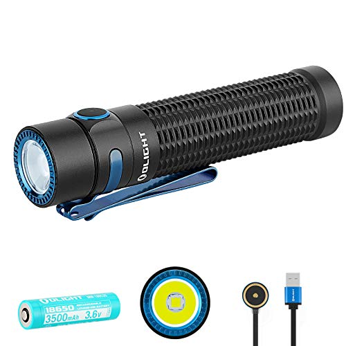 SKYBEN Olight Warrior Mini 1500 Lumen LED Tail Switch Magnetic 18650 Rechargeable Tactical Flashlight, Battery Case Included