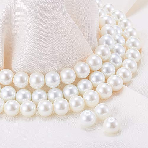 NBEADS 2 Box 400pcs 8mm Glass Pearl Beads, Environmental Dyed Round Loose Pearl Beads for Bracelets Necklaces Jewelry Making ()
