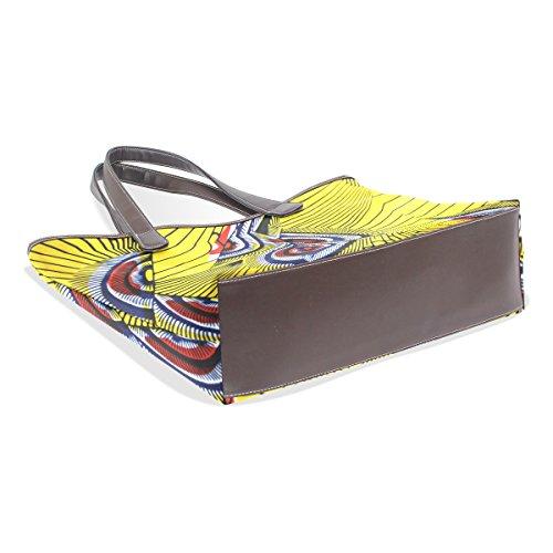 COOSUN Damen Gelb Federn Muster Pu Leder Große Einkaufstasche Griff Umhängetasche
