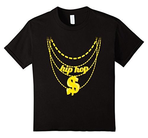 Rapper Girl Costume (Kids Hip Hop Costume Shirt Halloween Gold Chains 8 Black)