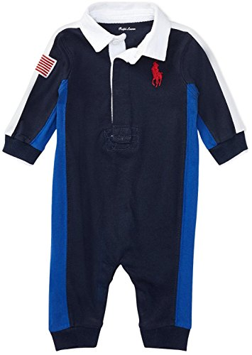Ralph Lauren Baby Boys Cotton Jersey Rugby Coverall (French Navy, 9 Months)