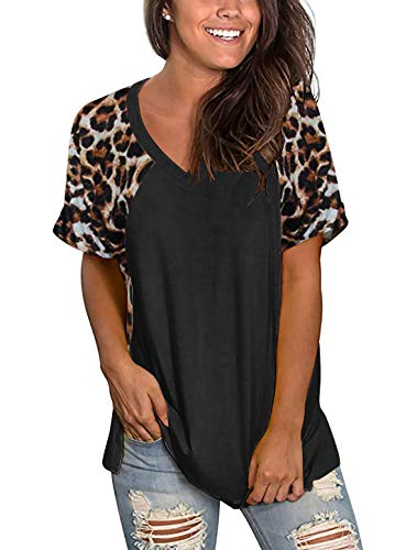 Uincloset Women's Leopard Print Patchwork T Shirt Short Sleeve V Neck Casual Tops