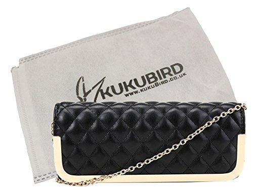 Kukubird Ruby fino acolchado Bolsa de embrague bolsa fiesta baile con bolsa Kukubird Black