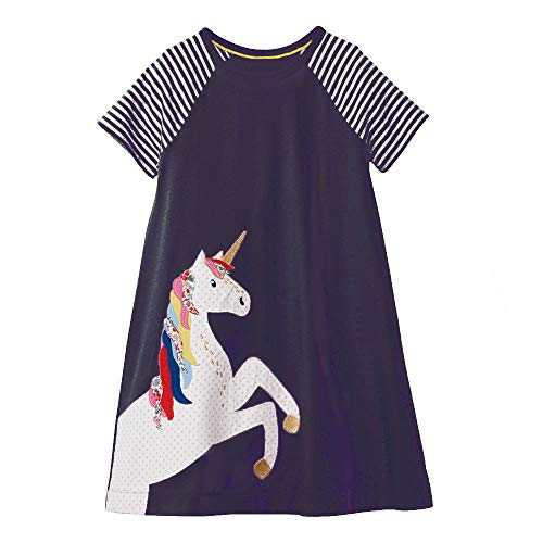 Girls Cotton Long Sleeve Casual Cartoon Appliques Striped Jersey Dresses (7T, Unicorns) -