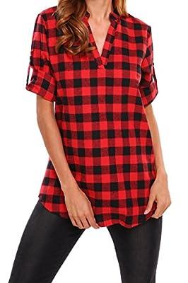 Beyove Women's 3/4 Cuffed Sleeve V-Neck Pullover Plaid Top T-Shirt Blouse