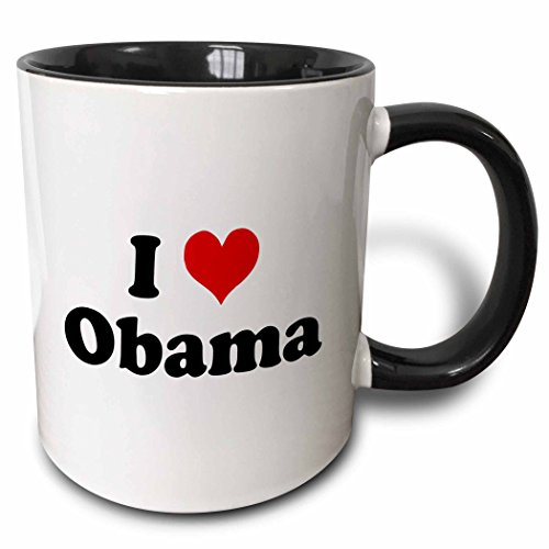 - 3dRose 16614_4 I Love Obama-Two Tone Black Mug, 11-Ounce, Multicolored