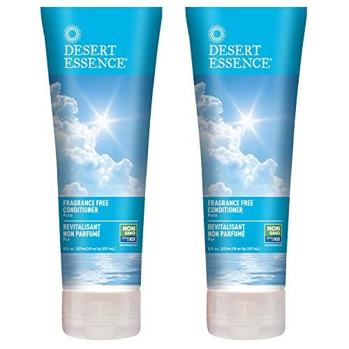 Desert Essence Fragrance Free Conditioner - Pure - 8 Fl Ounce - Pack of 2 - Gloss & Shine - Smoothes & Softens Hair - No Oil Residue - Antioxidants - Green Tea - Jojoba Oil - Vitamin B5