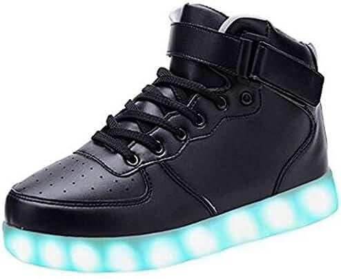 BEIKING Kids Boy Girl Toddler High Top Led Light Up Luminous Flashing Sneakers Shoes