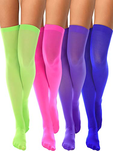 4 Pairs Women's Silk Thigh High Stockings Nylon Socks for Women Cosplay Costume Party Accessory (Color Set -
