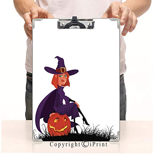 Student's Painting Clipboard,Custom Clipboard, Aluminum,PVC,A4 Standard, Cute Halloween Witch]()