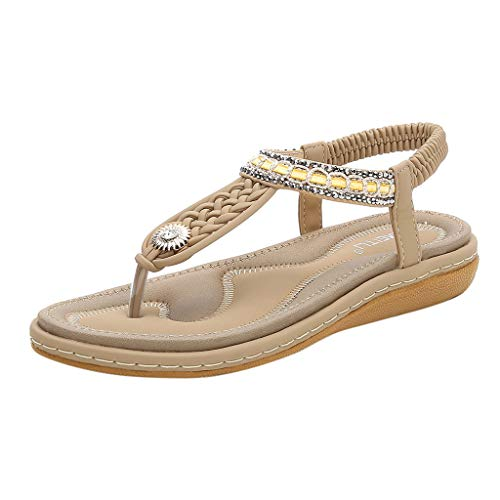 Tantisy ♣↭♣ Women's Bohemian Casual Sandals/Crystal Woven Roman Sandals/Comfy Flat Shoes/Elastic Band/Heel High:3cm/1.2