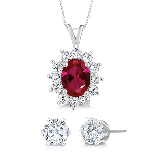 2.02 Ct Oval Red Created Ruby 925 Sterling Silver Pendant with Gift (Matching White CZ (Oval Ruby Pendant Set)
