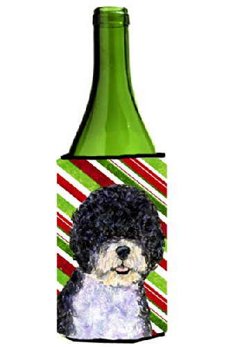 Portuguese Water Dog Candy Cane Holiday Christmas Wine Bottle Beverage Insulator Beverage Insulator Hugger - Candy Cane Huggers