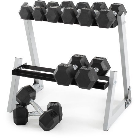 Weider 200 lb Rubber Hex Dumbbell Weight Set, 10-30 lb with Rack Box by Weider