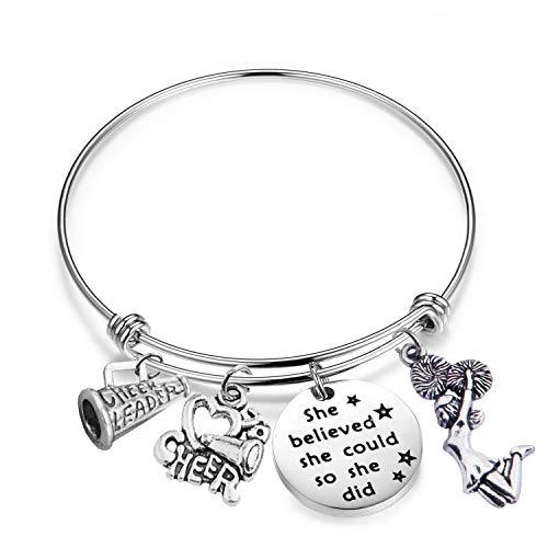 AKTAP Cheerleader Gifts Cheer Bracelets She Believed She Could So She Did Cheerleader Bracelets for Girls (Bracelet)