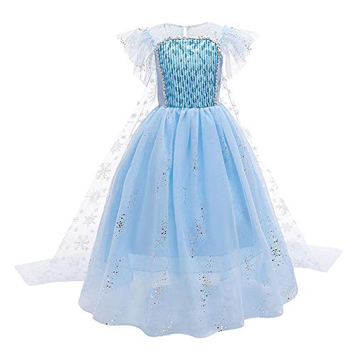 FYMNSI Elsa Kostuum Sneeuwkoningin Prinses Fancy Dress Up Pailletten Tule Lange Jurk met Accessoires voor Kids Halloween…